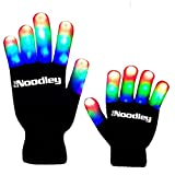 The Noodley Children LED Finger Light Gloves - Boys Toys & Kids Games (Small, Black) (Color: Black / White, Tamaño: Small)