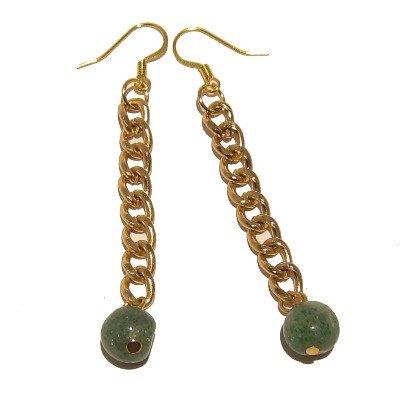 Aventurine Earrings 35 Dangle Gold Chain Green Crystal Healing Gemstone 3