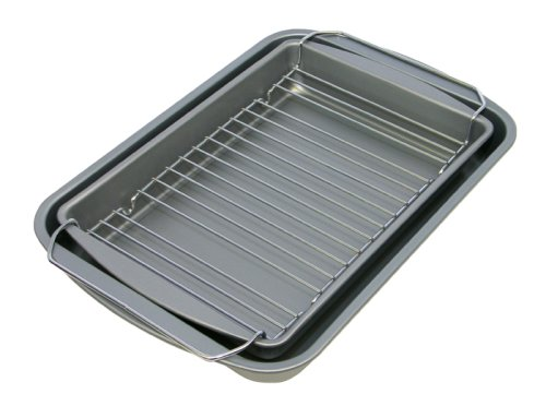 OvenStuff Non-Stick 14.5 Inch x 10.5 Inch x 2 Inch Bake, Broil, & Roast Pan Three Piece Set