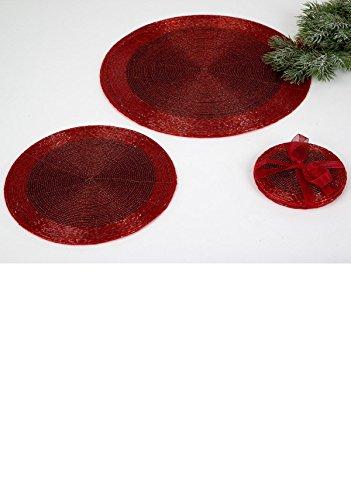 Untersetzer 10cm für Gläser, Platzset, mit Perlen, rot, FORMANO, 507242