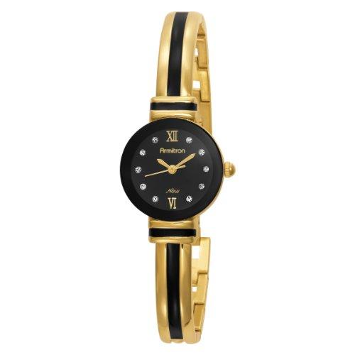 Armitron Women's 753627BKGP NOW Swarovski Crystal Accented Gold-Tone and Black Enamel Bangle Watch