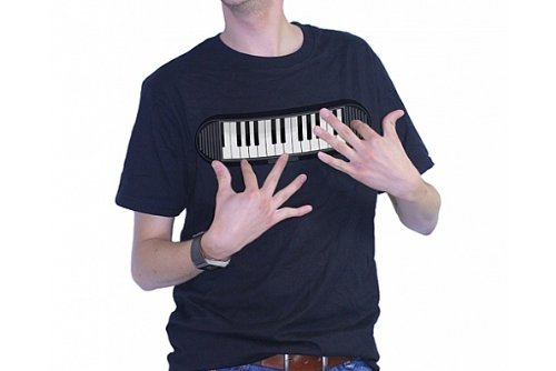 T-SHIRT - SYNTHESIZER / BATTERY OPERATED KEYBOARD DESIGN