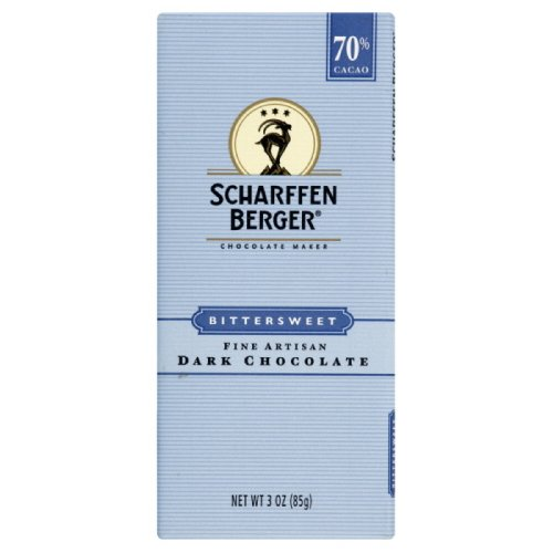 Scharffen Berger Chocolate Bar, Bittersweet Dark Chocolate, 70% Cacao, 3-Ounce Packages (Pack of 6)
