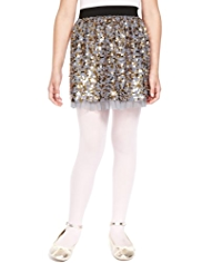 Mesh Frilled Sequin Skirt
