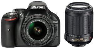 Nikon D5200 Appareil photo numérique Réflex 24,2 Mpix Kit Boîtier + Objectifs 18-55 Mm/55-200 Mm DXVR II Noir