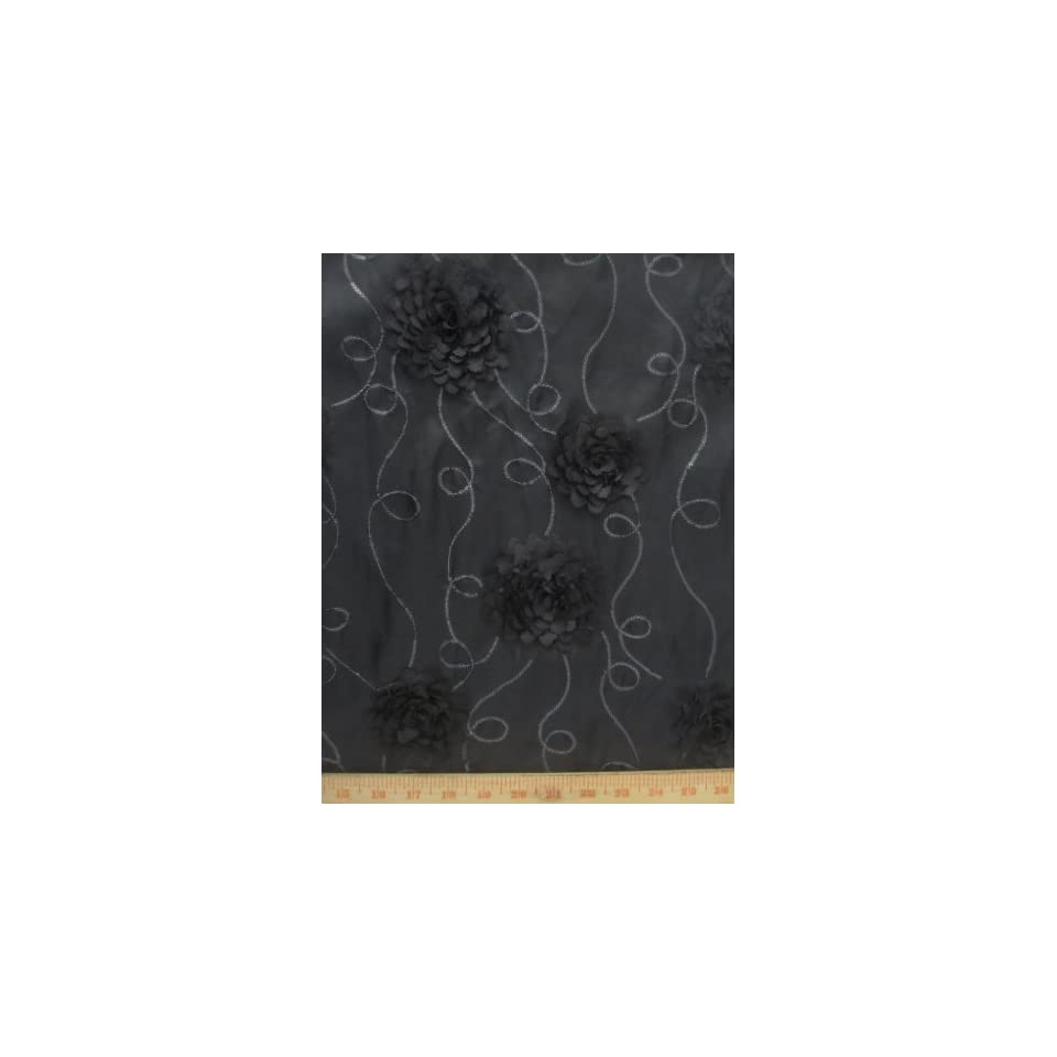 """Floral/Rose Taffeta Sequin Fabric   Black   55"""" Sold by the Yard"""