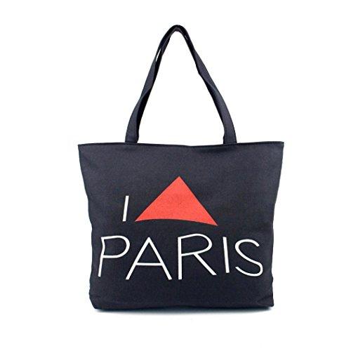 Borsa a tracolla Clode® Donne Canvas Borsetta Shopping Spalla Borsa Parigi Torre Eiffel Libro Tote Borsa (Colour : A)