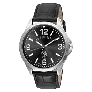 U.S. Polo Assn. Classic Men's USC50007 Oversized Black Dial Leather Strap Watch