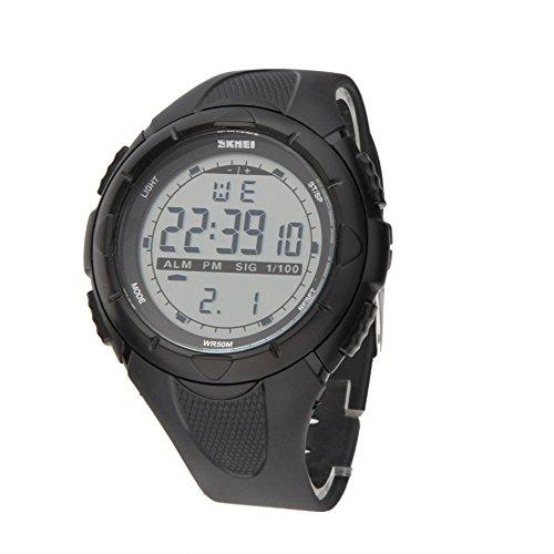 SKMEI 5ATM Impermeabile Moda Uomo LCD Digital cronometro cronografo Data dell'allarme casual sport orologio da polso