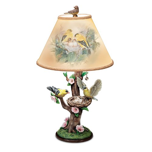 Lena Liu Lamp: Nature's Poetry Lamp with Goldfinch Art by The Bradford Exchange
