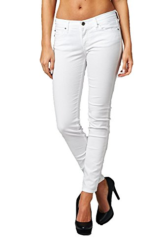 Angry Rabbit Women's Premium Denim Ankle Color Skinny Jean (29, White)
