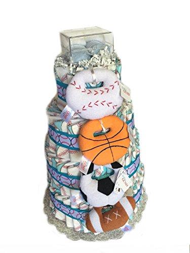 Print Fun - Baby Shower Diaper Cake Gift Set (3 Tier, Baseball) (Football Diaper Cake compare prices)