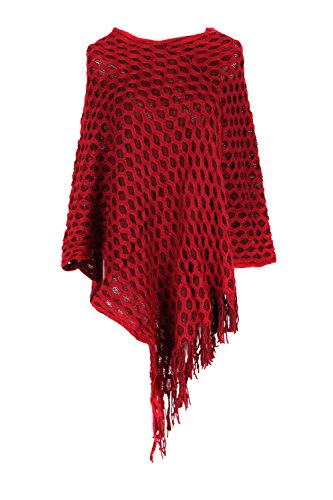 G2 Chic Women's Knit and Faux Fur Poncho Sweaters with Fringe Cape(OW-JKT,WIN-OS)