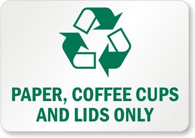 "Paper, Coffee Cups And Lids Only (With Graphic), Plastic (Recycled And Compostable) Sign, 14"" X 10"""