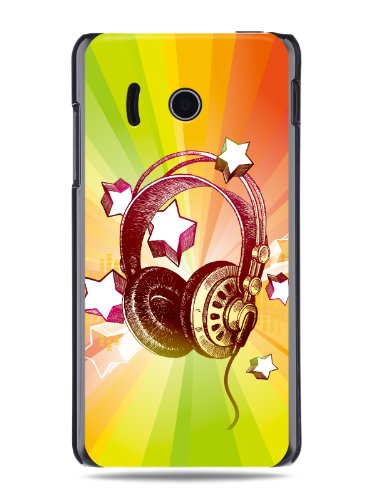 "Grüv Premium Case - ""Colorful Music Dj Headphones & Stars"" Design - Best Quality Designer Print On Black Hard Cover - For Huawei Ascend Y300 U8833 T8833"
