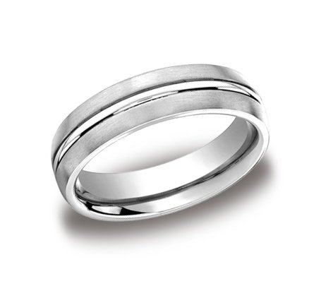 SE9906W4 4.00 Millimeters White Gold Wedding Band Ring with Satin Brush Finish and Center Bright Ridge in 14Kt Gold, Finger Size 6½