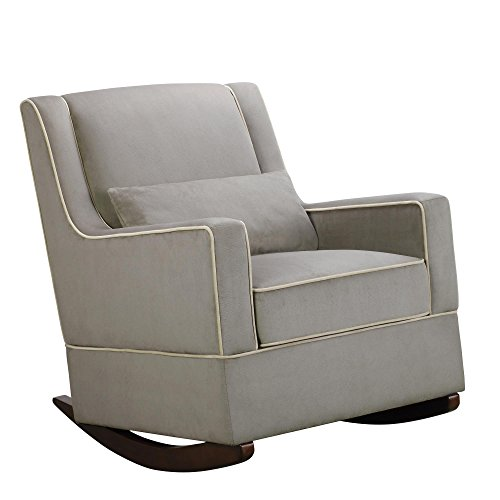 Dorel Asia The Sydney Nursery Microfiber Rocker Chair and Free Lumbar Pillow, Dark Taupe - 1