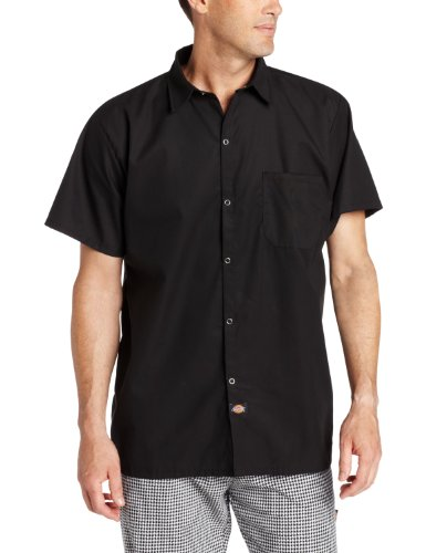 Dickies men 39 s snap button cook shirt black x large ebay for Snap tab collar shirt