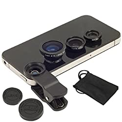 Origlow Universal 3 in 1 Cell Phone Camera Lens Kit - Fish Eye Lens / 2 in 1 Macro Lens & Wide Angle Lens (Random Colors)
