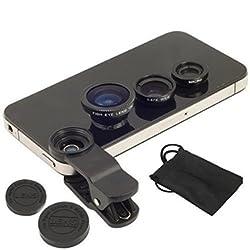 Origlow Universal 3 in 1 Cell Phone Camera Lens Kit - Fish Eye Lens / 2 in 1 Macro Lens & Wide Angle Lens (Random Colors)