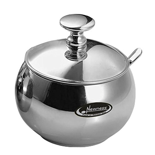 Newness Stainless Steel Sugar Bowl with Lid and Sugar Spoon for Home, Drum Shape, 9.0 Ounces(270 Milliliter) (Sugar Holder With Lid compare prices)