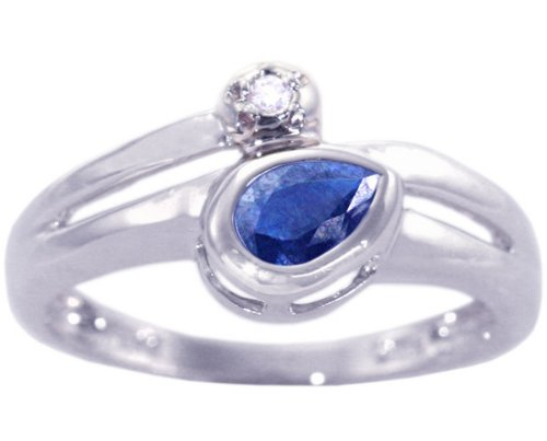 14K White Gold Pear Gemstone and Diamond Promise Ring-Blue Sapphire, size6.5