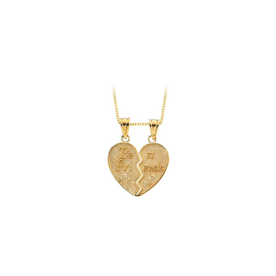 14K Yellow Gold Best Friends Heart Shaped Pendant with Chain