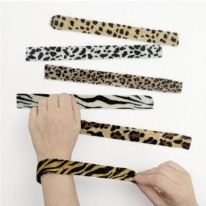 Animal Print Slap Bracelets - Assorted 12 pack
