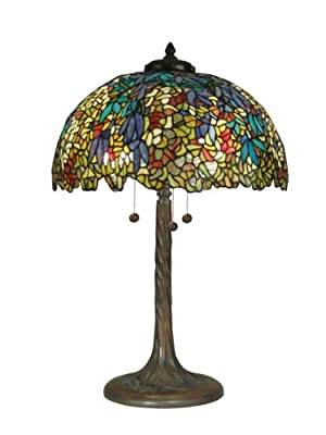 Dale Tiffany TT90430 Tiffany Table Lamp, Antique Verde and Art Glass Shade