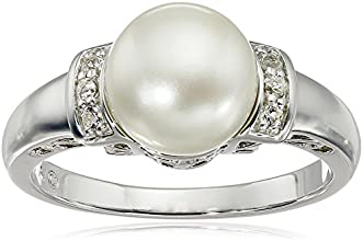Sterling Silver Freshwater Cultured White Pearl and White Topaz Ring (9-9.5 mm), Size 7
