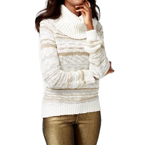INC Womens Knit Metallic Pullover Sweater White XL (Inc Womens Sweaters compare prices)