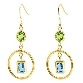 Peridot and Blue Topaz earrings