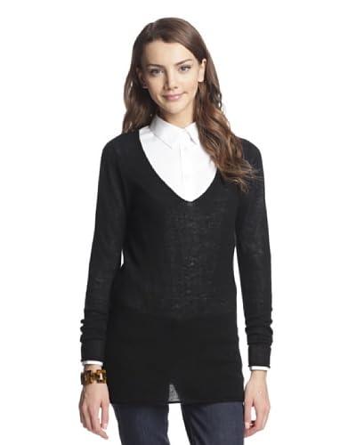 Kier & J Women's Sheer Cashmere V-Neck Tunic  [Black]