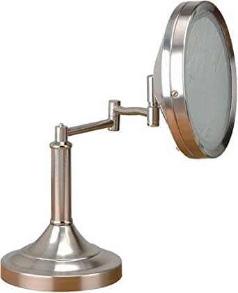 steel swing arm lighted vanity mirror from the vogue collection. Black Bedroom Furniture Sets. Home Design Ideas