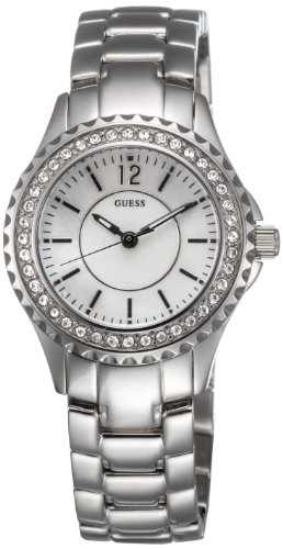 Guess Ladies Polished Silver Bracelet Watch With Mother Of Pearl Dial