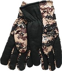 True Gear Men's Digital Camo Cold Weather Ski Gloves (Tan/Brown)
