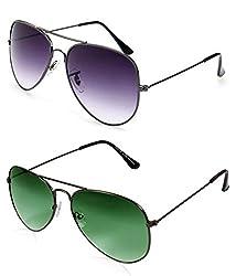 MagJons Black And Green Aviator Sunglasses Set Of 2 (With Box)