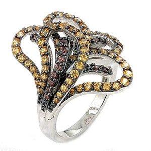 Sterling Silver Brown & Champagne Colored Ferroni Swarovski Zirconia Flower Right Hand Ring