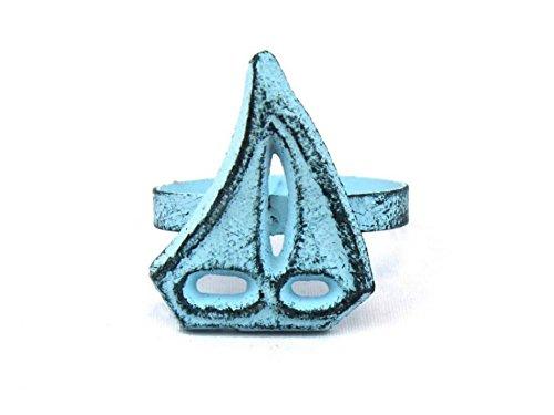"""Dark Blue Whitewashed Cast Iron Sailboat Napkin Ring 4"""" - set of 2 - Decorative"""