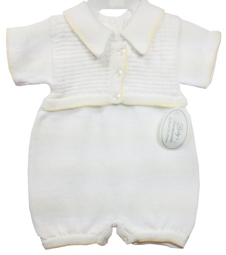 Imagen de Del bebé Trousseau muchachos White & Tan Recorte de bautizo Jumper Romper con chaleco adjunto Ð 3 meses