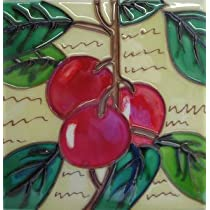 Cherry Fruit Kitchen Decorative Ceramic Wall Art Tile 4x4