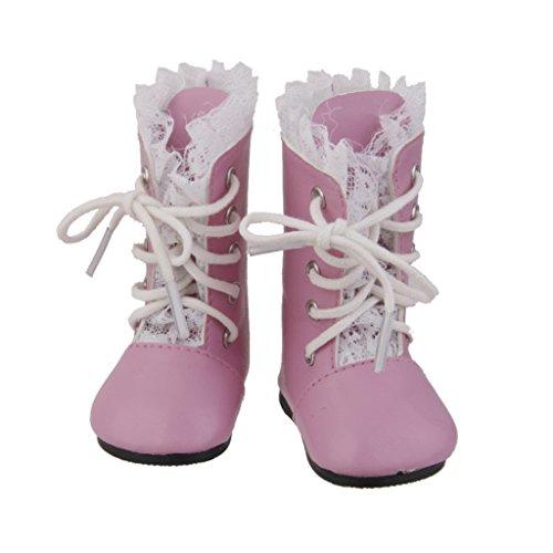 Chaussure Botte Lacet Vintage Mode Pour American Poupées Fille Dolls Rose