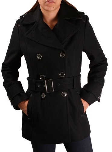 Kenneth Cole New York Melton Women's Belted Peacoat Jacket Coat Sz 10