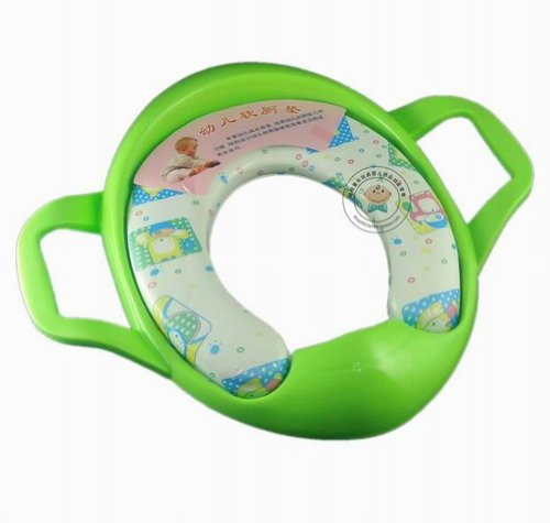 Baby Kid Toddler Infant Child Children Boy Girl Potty Training Trainer Soft Padded Toilet Seat Pedestal Pan Chair Cover Handles (Green)