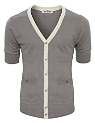 Tom's Ware mens Classic Slim Fit Ribbed Six Buttoned Cardigan TWCMC06-GRAY-US S/M (ASIAN L)