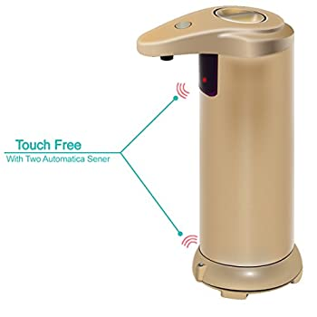 ANKO Automatic Sensor Stainless Steel Touchless Soap Dispenser With Waterproof Base, Suitable For Kitchen, Bathroom etc(Gold)