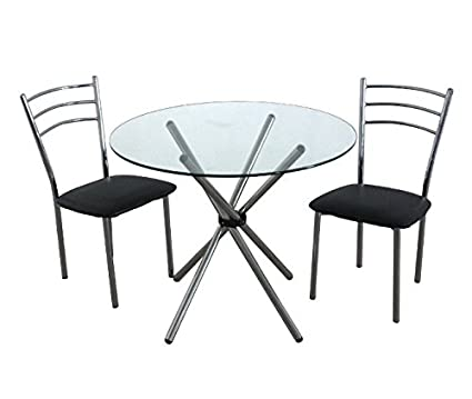 Black 3 Piece Dining Set - Stylish And Practical - Set Includes 1 Glass Top Table And 2 Steel Frame Chairs - Black Leather Effect