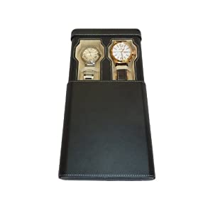 Men's Two Watch Black Leatherette Double Cigar Style Travel Storage Case