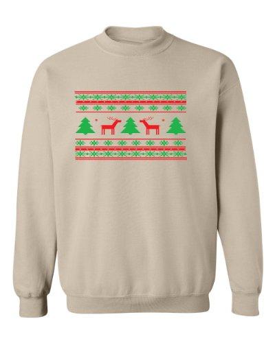 Festive Threads Ugly Christmas Sweater (Deer Design) Beige Adult Sweatshirt (3-Xl)