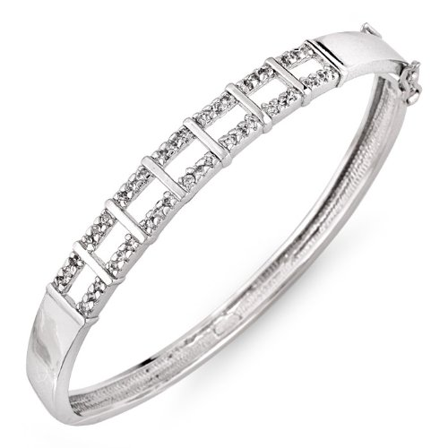 C.Z. Diamond Sterling Silver Classic Bridal Bangle Bracelet (Nice Holiday Gift, Special Black Firday Sale)